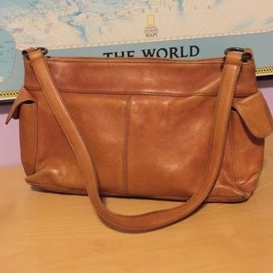 FOSSIL VINTAGE PURSE BROWN LEATHER SHOULDER BAG